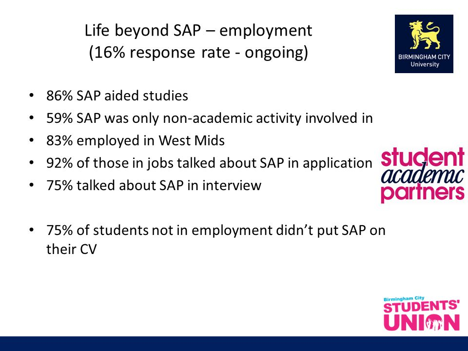 Life beyond SAP – employment (16% response rate - ongoing) 86% SAP aided studies 59% SAP was only non-academic activity involved in 83% employed in West Mids 92% of those in jobs talked about SAP in application 75% talked about SAP in interview 75% of students not in employment didnt put SAP on their CV