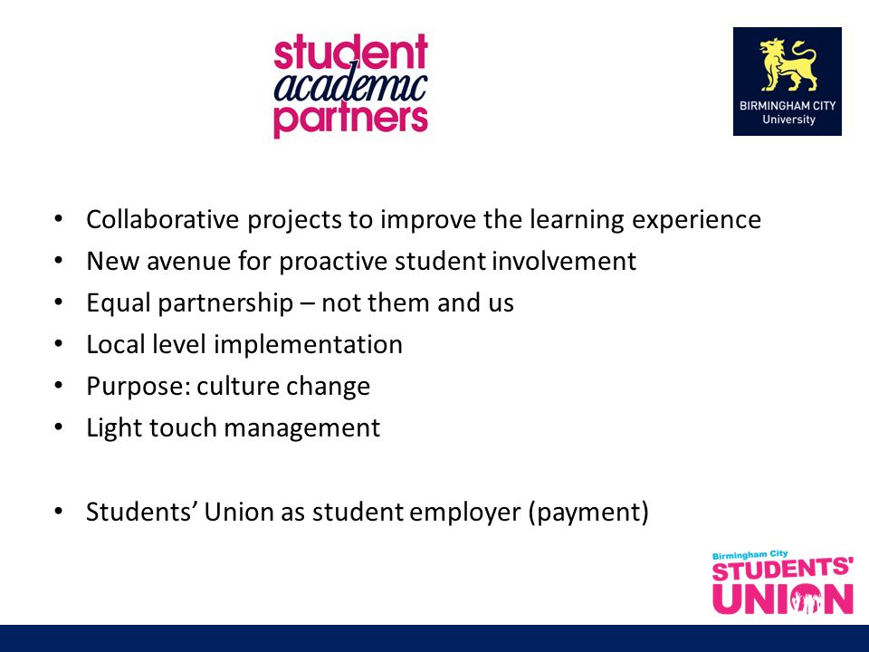 Collaborative projects to improve the learning experience New avenue for proactive student involvement Equal partnership – not them and us Local level implementation Purpose: culture change Light touch management Students Union as student employer (payment)