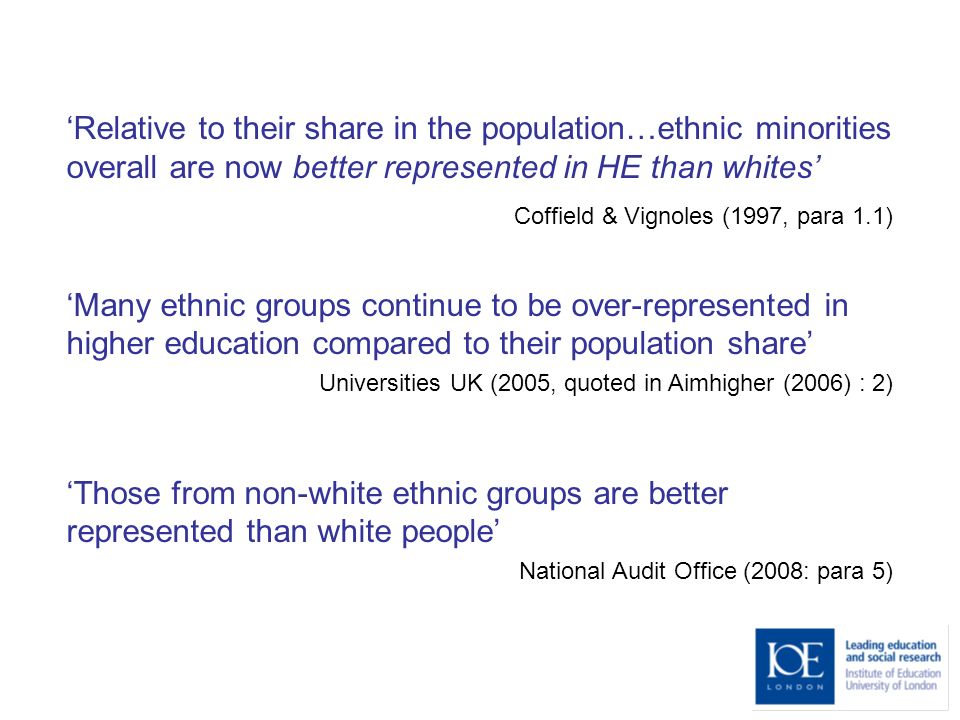 Relative to their share in the population…ethnic minorities overall are now better represented in HE than whites Coffield & Vignoles (1997, para 1.1)