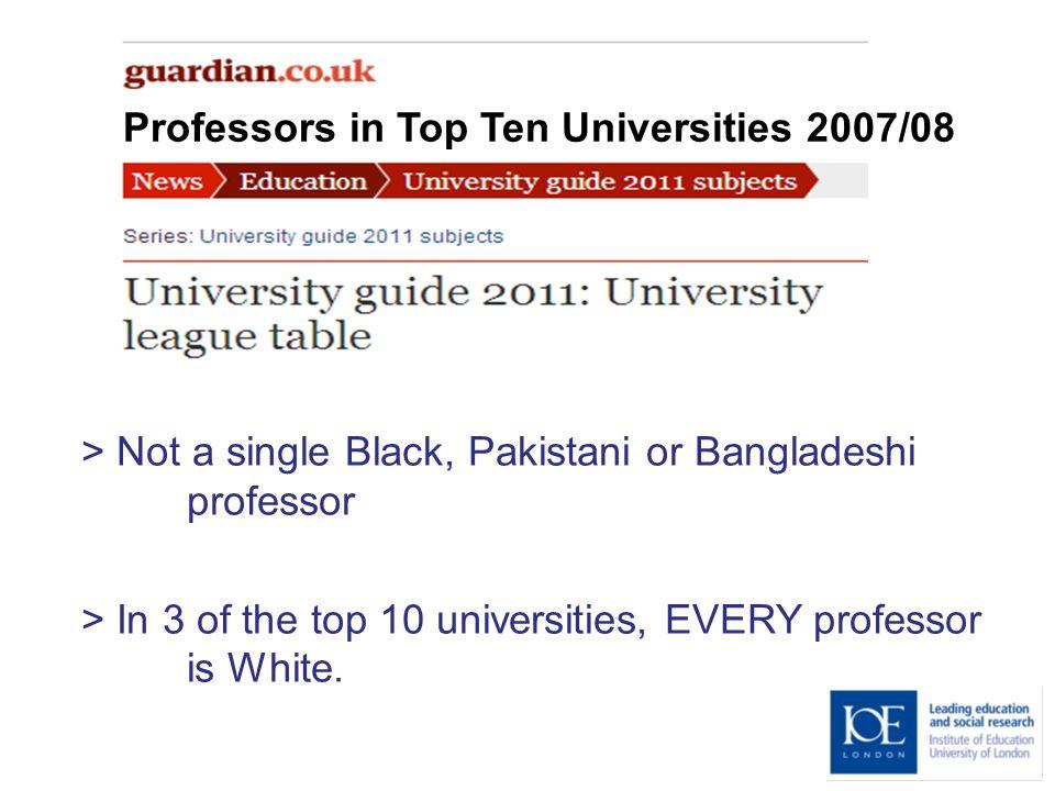 Professors in Top Ten Universities 2007/08 > Not a single Black, Pakistani or Bangladeshi professor > In 3 of the top 10 universities, EVERY professor