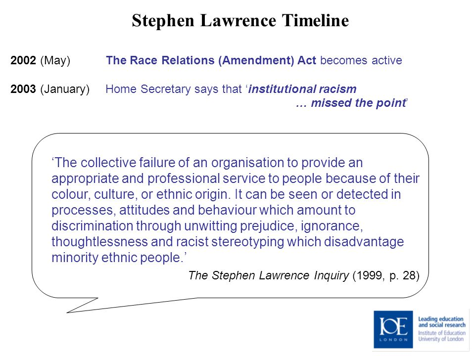 Stephen Lawrence Timeline 2002 (May) The Race Relations (Amendment) Act becomes active 2003 (January) Home Secretary says that institutional racism … missed the point The collective failure of an organisation to provide an appropriate and professional service to people because of their colour, culture, or ethnic origin.