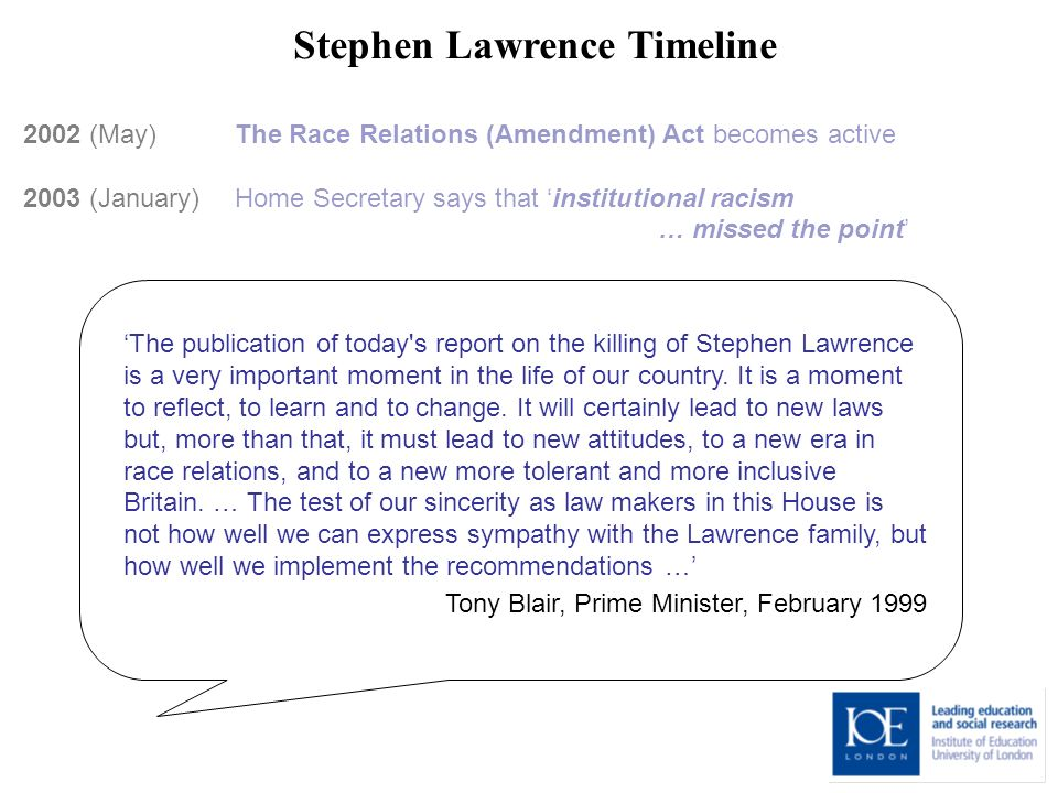 Stephen Lawrence Timeline 2002 (May) The Race Relations (Amendment) Act becomes active 2003 (January) Home Secretary says that institutional racism … missed the point The publication of today s report on the killing of Stephen Lawrence is a very important moment in the life of our country.