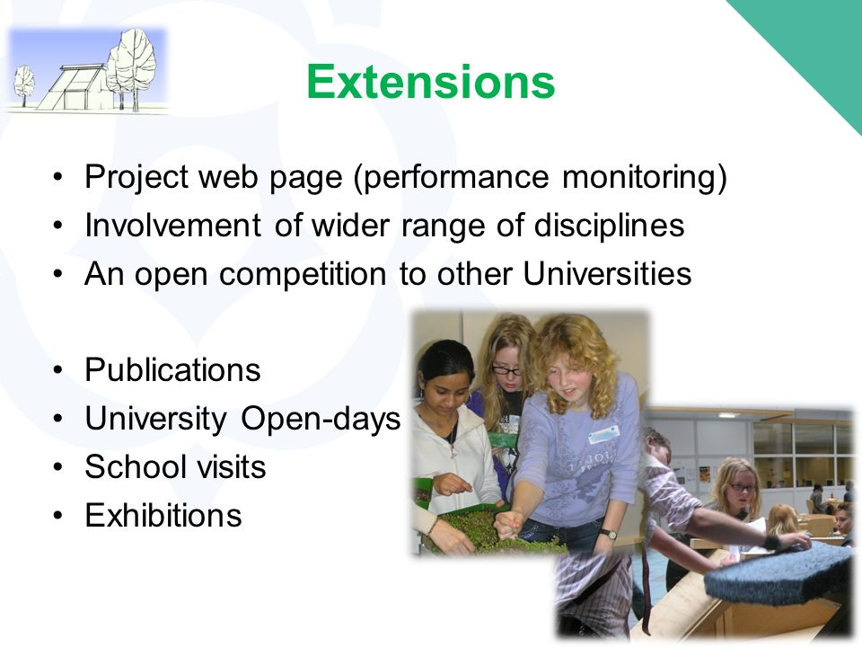 Extensions Project web page (performance monitoring) Involvement of wider range of disciplines An open competition to other Universities Publications University Open-days School visits Exhibitions