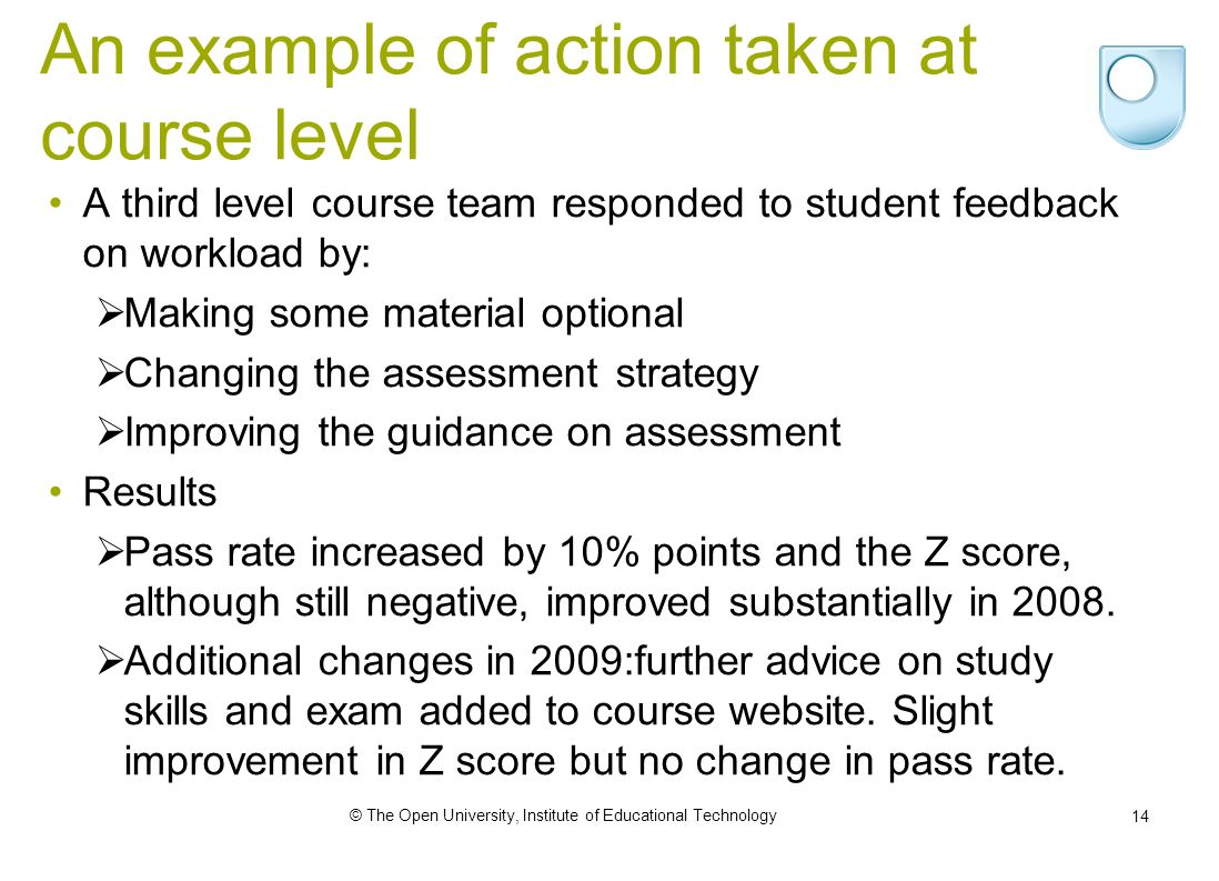 © The Open University, Institute of Educational Technology 14 An example of action taken at course level A third level course team responded to student feedback on workload by: Making some material optional Changing the assessment strategy Improving the guidance on assessment Results Pass rate increased by 10% points and the Z score, although still negative, improved substantially in 2008.