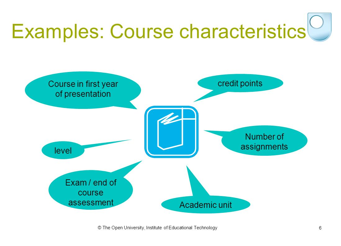 © The Open University, Institute of Educational Technology 6 Examples: Course characteristics Course in first year of presentation credit points Number of assignments level Exam / end of course assessment Academic unit