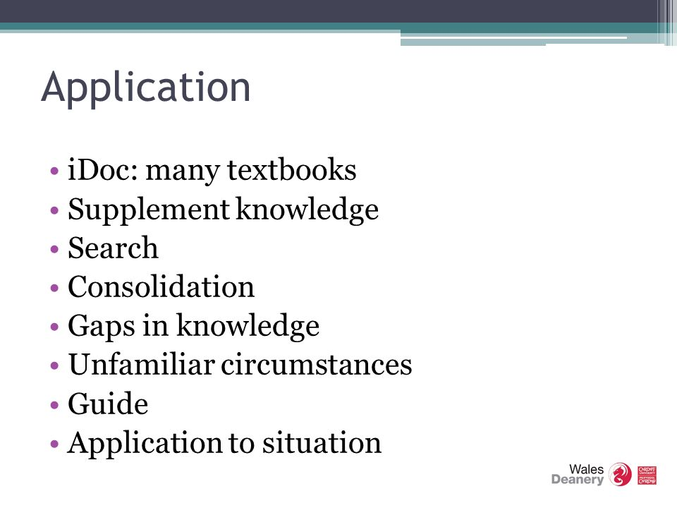 Application iDoc: many textbooks Supplement knowledge Search Consolidation Gaps in knowledge Unfamiliar circumstances Guide Application to situation