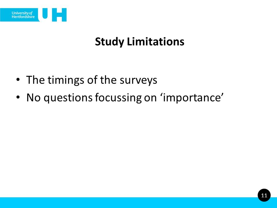 Study Limitations The timings of the surveys No questions focussing on importance 11