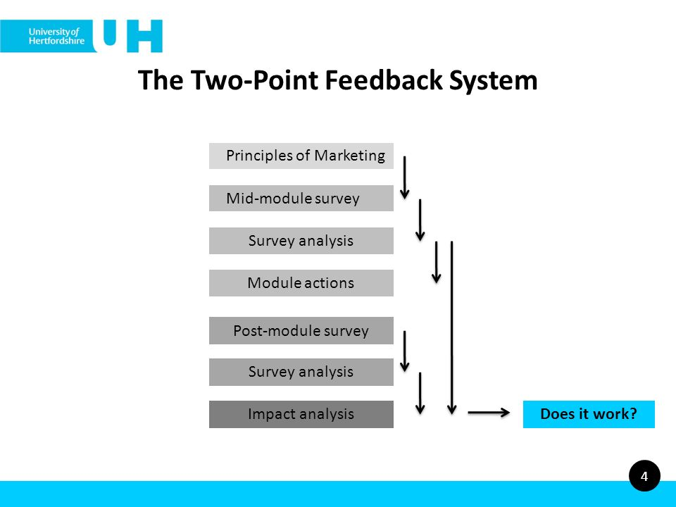The Two-Point Feedback System 4 Principles of Marketing Mid-module survey Module actions Post-module survey Survey analysis Impact analysisDoes it work?