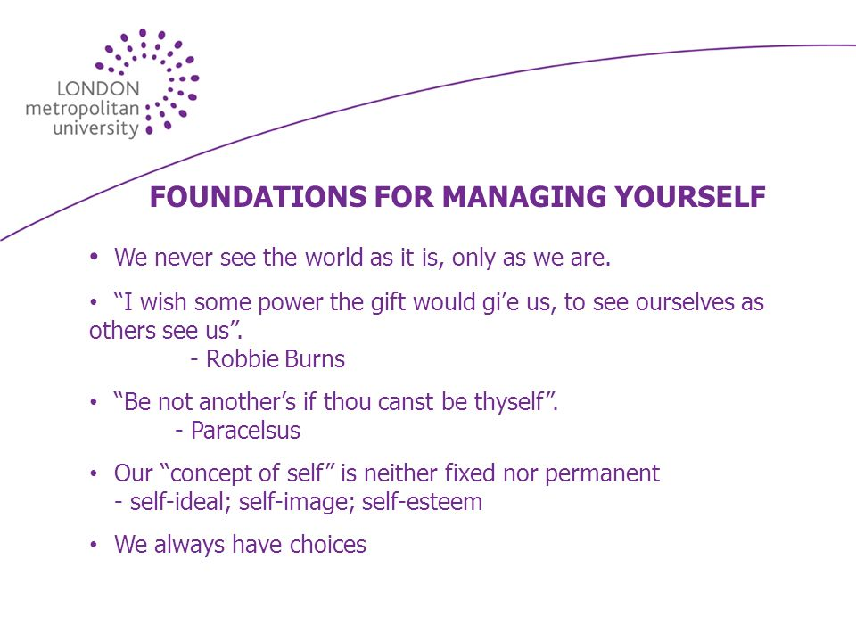 FOUNDATIONS FOR MANAGING YOURSELF We never see the world as it is, only as we are.