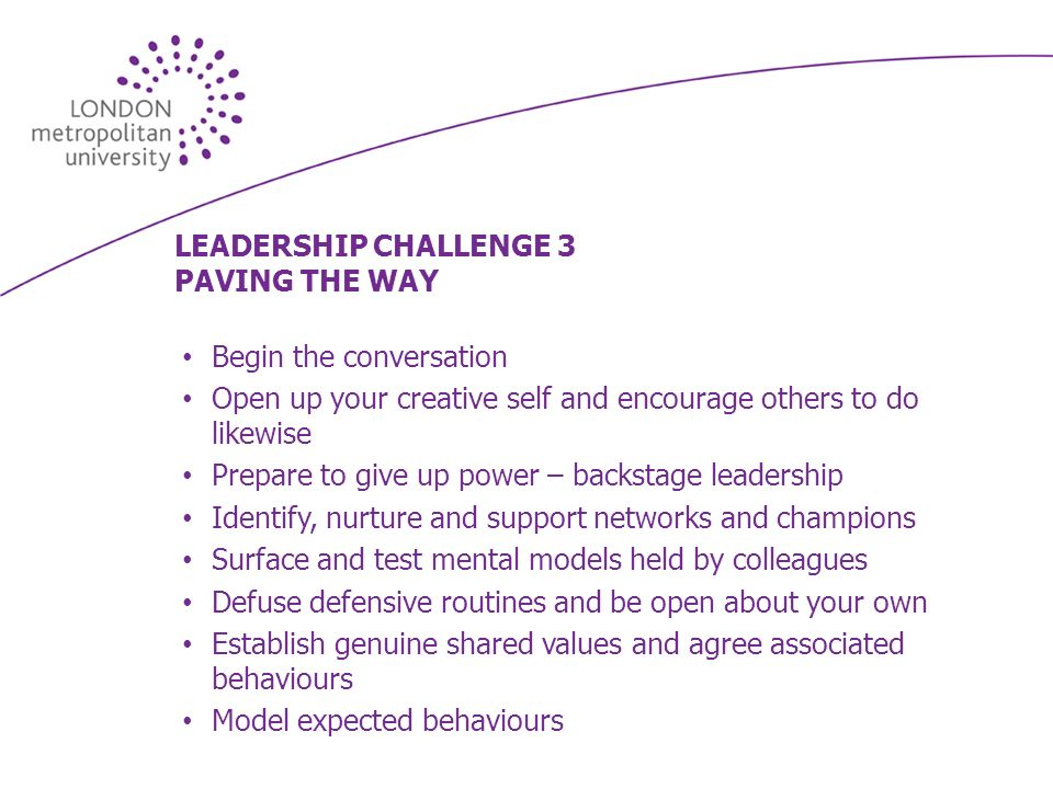 LEADERSHIP CHALLENGE 3 PAVING THE WAY Begin the conversation Open up your creative self and encourage others to do likewise Prepare to give up power – backstage leadership Identify, nurture and support networks and champions Surface and test mental models held by colleagues Defuse defensive routines and be open about your own Establish genuine shared values and agree associated behaviours Model expected behaviours