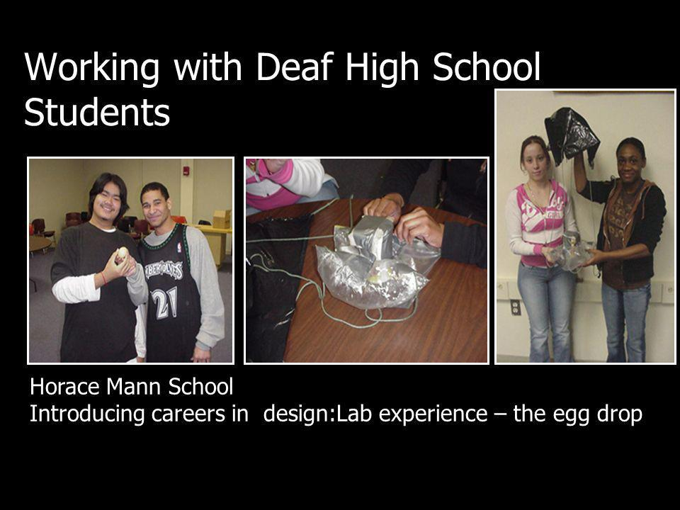 Working with Deaf High School Students Horace Mann School Introducing careers in design:Lab experience – the egg drop