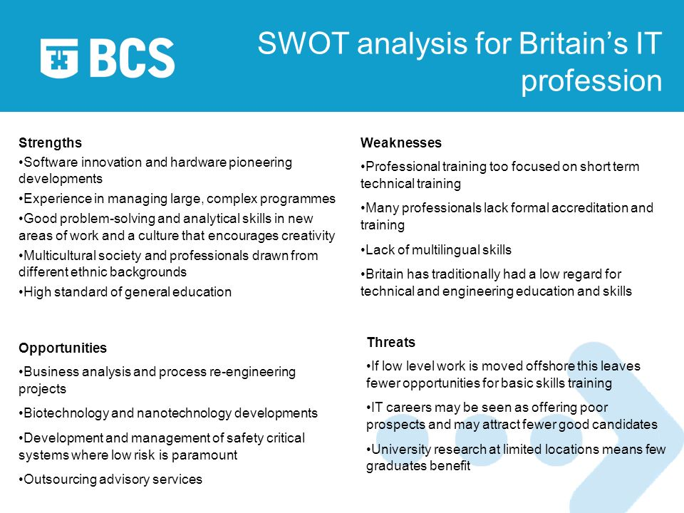 SWOT analysis for Britains IT profession Strengths Software innovation and hardware pioneering developments Experience in managing large, complex programmes Good problem-solving and analytical skills in new areas of work and a culture that encourages creativity Multicultural society and professionals drawn from different ethnic backgrounds High standard of general education Weaknesses Professional training too focused on short term technical training Many professionals lack formal accreditation and training Lack of multilingual skills Britain has traditionally had a low regard for technical and engineering education and skills Opportunities Business analysis and process re-engineering projects Biotechnology and nanotechnology developments Development and management of safety critical systems where low risk is paramount Outsourcing advisory services Threats If low level work is moved offshore this leaves fewer opportunities for basic skills training IT careers may be seen as offering poor prospects and may attract fewer good candidates University research at limited locations means few graduates benefit
