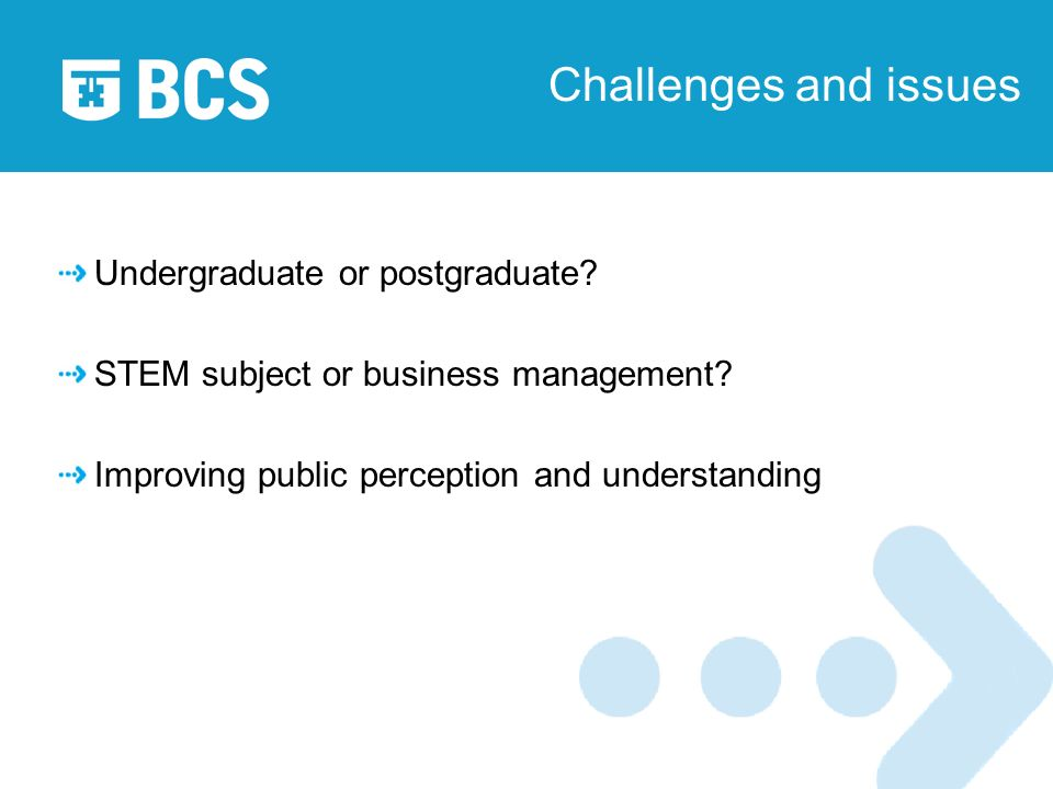 Challenges and issues Undergraduate or postgraduate.