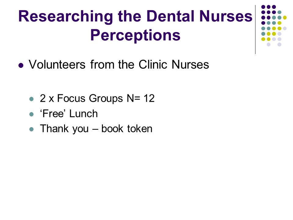 Researching the Dental Nurses Perceptions Volunteers from the Clinic Nurses 2 x Focus Groups N= 12 Free Lunch Thank you – book token