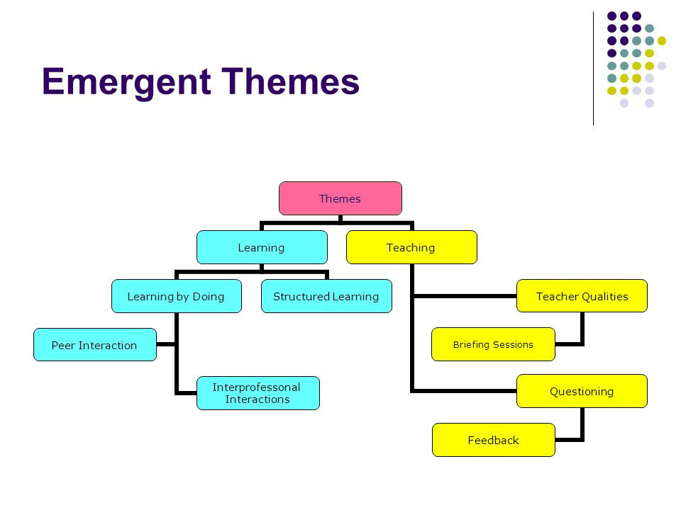 Emergent Themes Themes Learning Learning by Doing Interprofessonal Interactions Peer Interaction Structured Learning Teaching Teacher Qualities Briefing Sessions Questioning Feedback