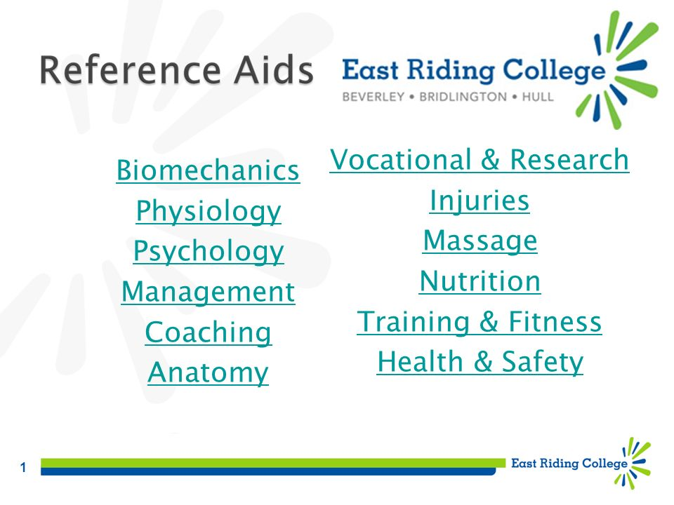 1 Biomechanics Physiology Psychology Management Coaching Anatomy Vocational & Research Injuries Massage Nutrition Training & Fitness Health & Safety