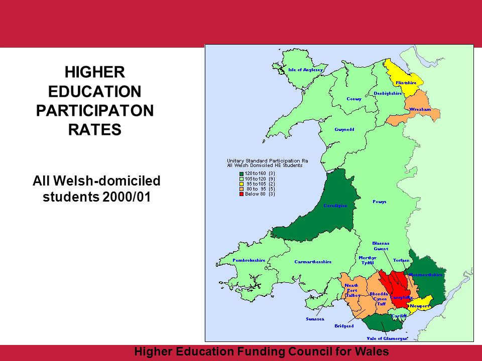 Higher Education Funding Council for Wales HIGHER EDUCATION PARTICIPATON RATES All Welsh-domiciled students 2000/01