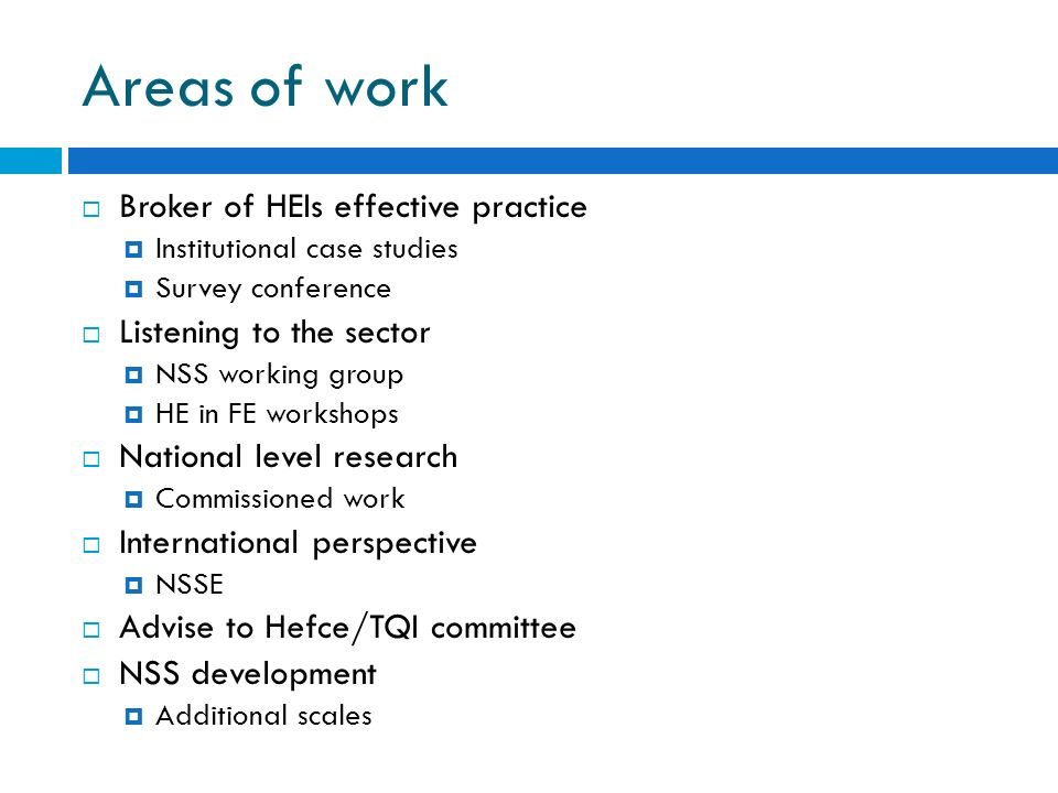 Areas of work Broker of HEIs effective practice Institutional case studies Survey conference Listening to the sector NSS working group HE in FE workshops National level research Commissioned work International perspective NSSE Advise to Hefce/TQI committee NSS development Additional scales