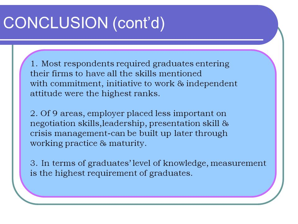 1.Most respondents required graduates entering their firms to have all the skills mentioned with commitment, initiative to work & independent attitude