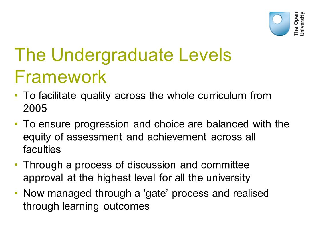 The Undergraduate Levels Framework To facilitate quality across the whole curriculum from 2005 To ensure progression and choice are balanced with the equity of assessment and achievement across all faculties Through a process of discussion and committee approval at the highest level for all the university Now managed through a gate process and realised through learning outcomes