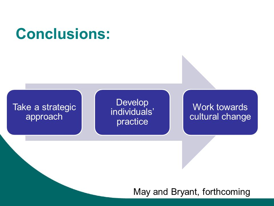 Conclusions: Take a strategic approach Develop individuals practice Work towards cultural change May and Bryant, forthcoming