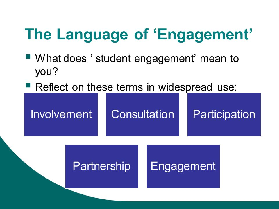 The Language of Engagement What does student engagement mean to you.