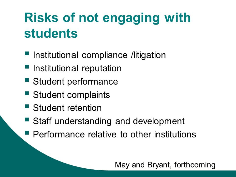 Risks of not engaging with students Institutional compliance /litigation Institutional reputation Student performance Student complaints Student retention Staff understanding and development Performance relative to other institutions May and Bryant, forthcoming