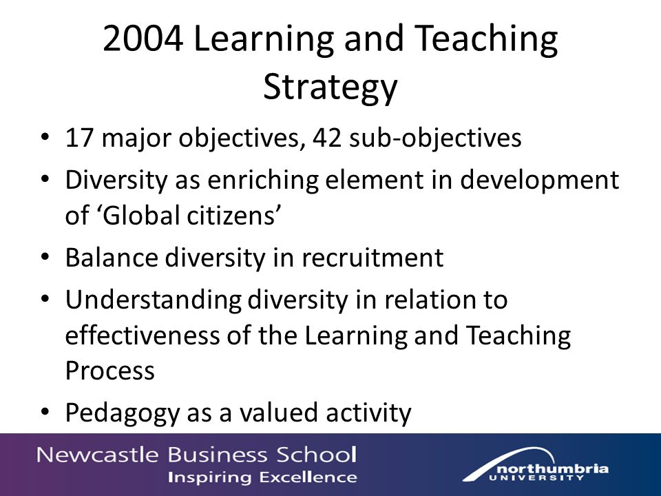 2004 Learning and Teaching Strategy 17 major objectives, 42 sub-objectives Diversity as enriching element in development of Global citizens Balance diversity in recruitment Understanding diversity in relation to effectiveness of the Learning and Teaching Process Pedagogy as a valued activity
