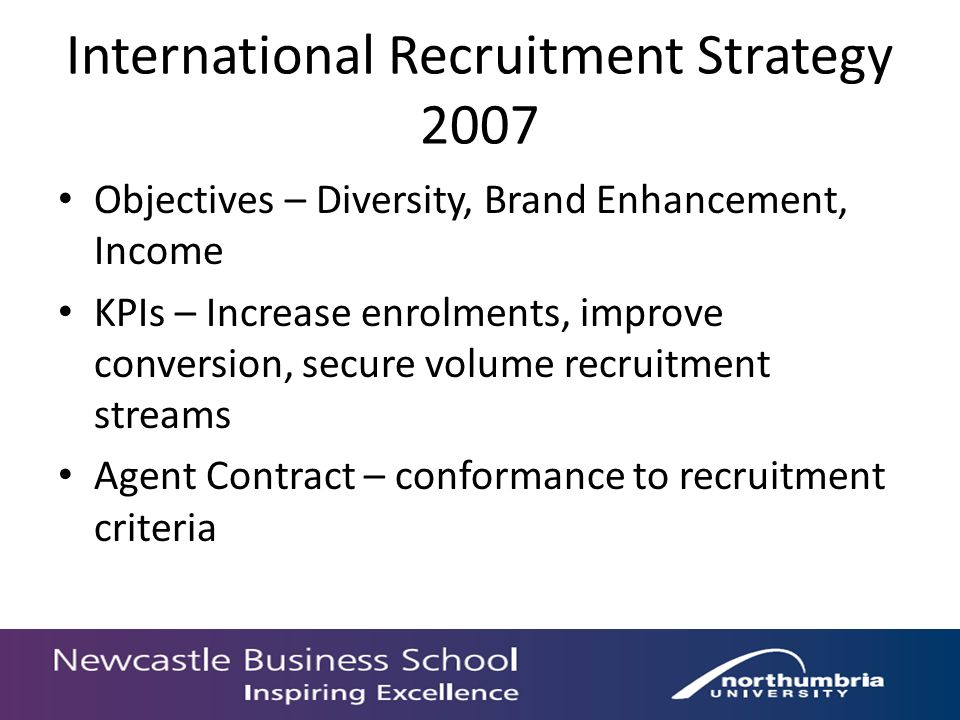International Recruitment Strategy 2007 Objectives – Diversity, Brand Enhancement, Income KPIs – Increase enrolments, improve conversion, secure volume recruitment streams Agent Contract – conformance to recruitment criteria