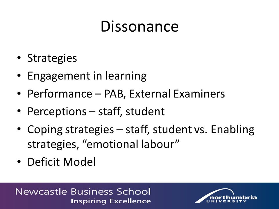 Dissonance Strategies Engagement in learning Performance – PAB, External Examiners Perceptions – staff, student Coping strategies – staff, student vs.