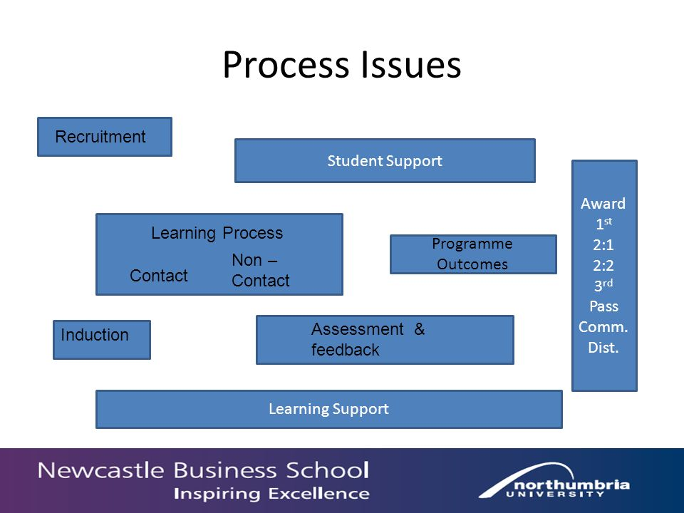 Process Issues Induction Programme Outcomes Learning Process Contact Non – Contact Recruitment Assessment & feedback Learning Support Student Support Award 1 st 2:1 2:2 3 rd Pass Comm.