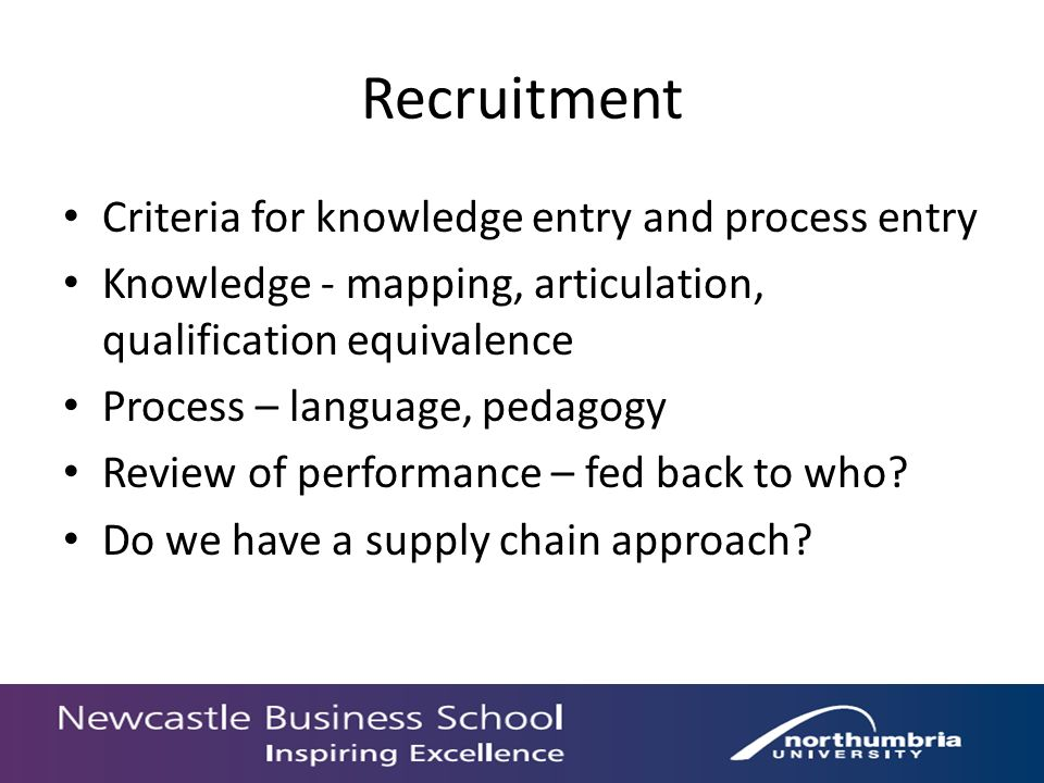 Recruitment Criteria for knowledge entry and process entry Knowledge - mapping, articulation, qualification equivalence Process – language, pedagogy Review of performance – fed back to who.
