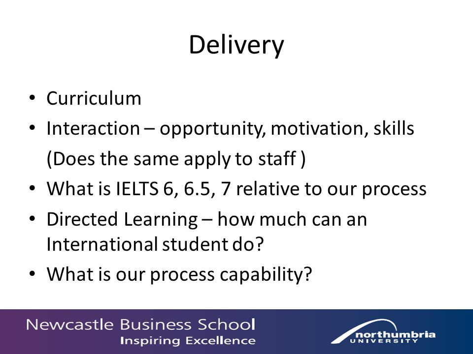 Delivery Curriculum Interaction – opportunity, motivation, skills (Does the same apply to staff ) What is IELTS 6, 6.5, 7 relative to our process Dire