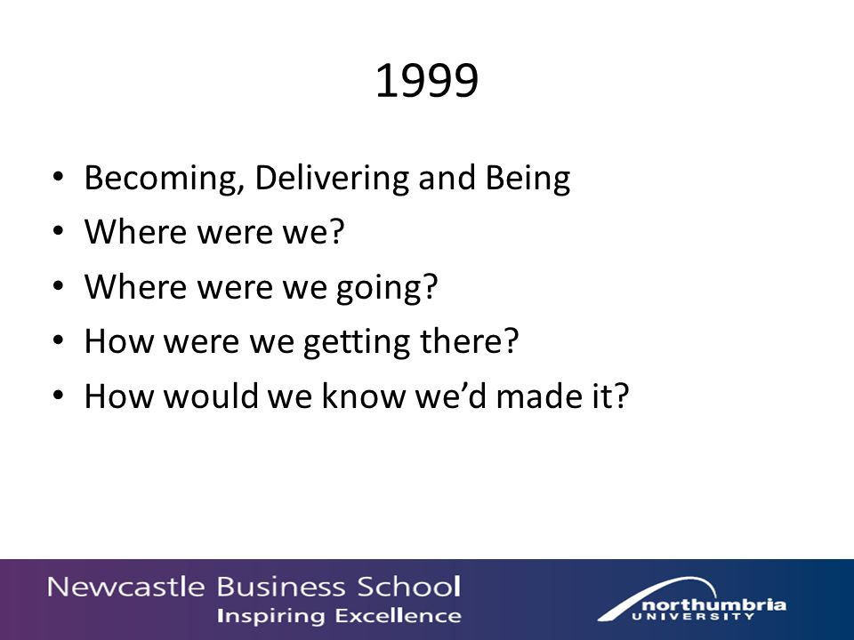 1999 Becoming, Delivering and Being Where were we.