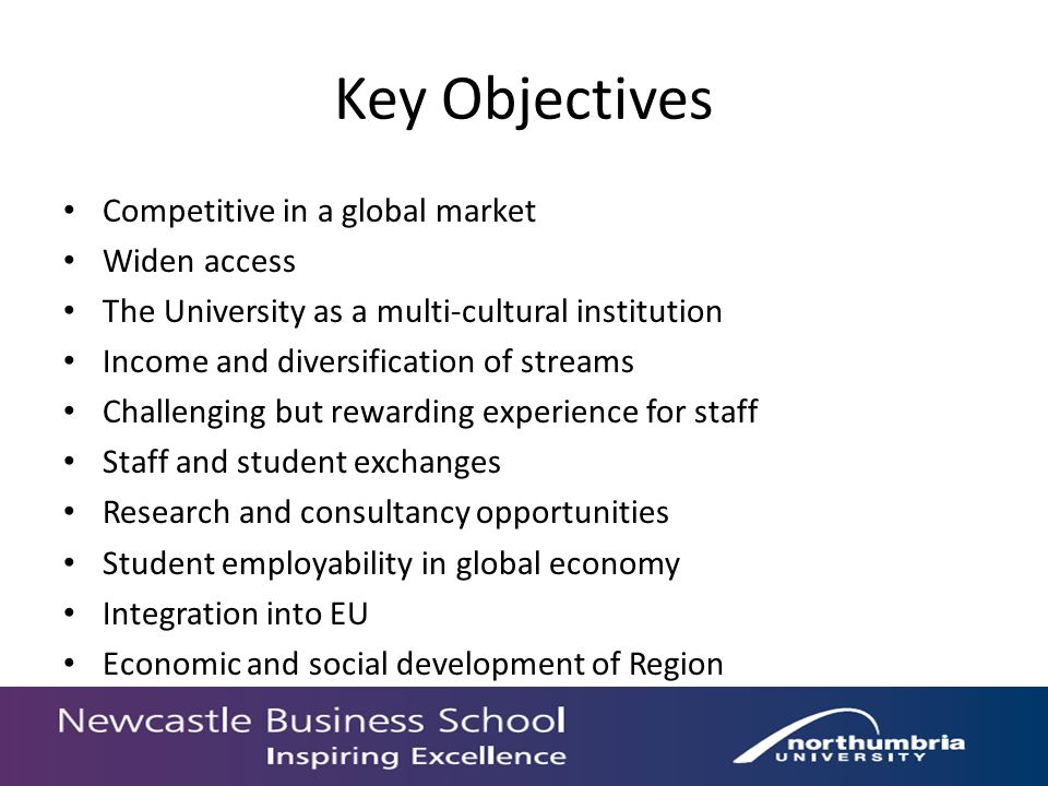 Key Objectives Competitive in a global market Widen access The University as a multi-cultural institution Income and diversification of streams Challenging but rewarding experience for staff Staff and student exchanges Research and consultancy opportunities Student employability in global economy Integration into EU Economic and social development of Region