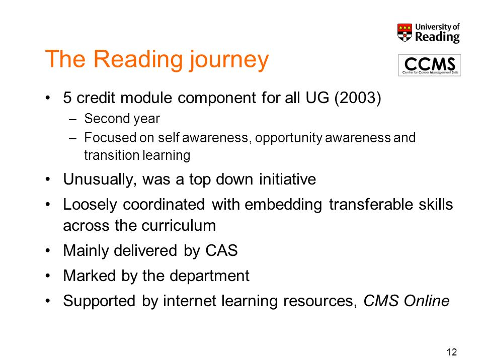 The Reading journey 5 credit module component for all UG (2003) –Second year –Focused on self awareness, opportunity awareness and transition learning
