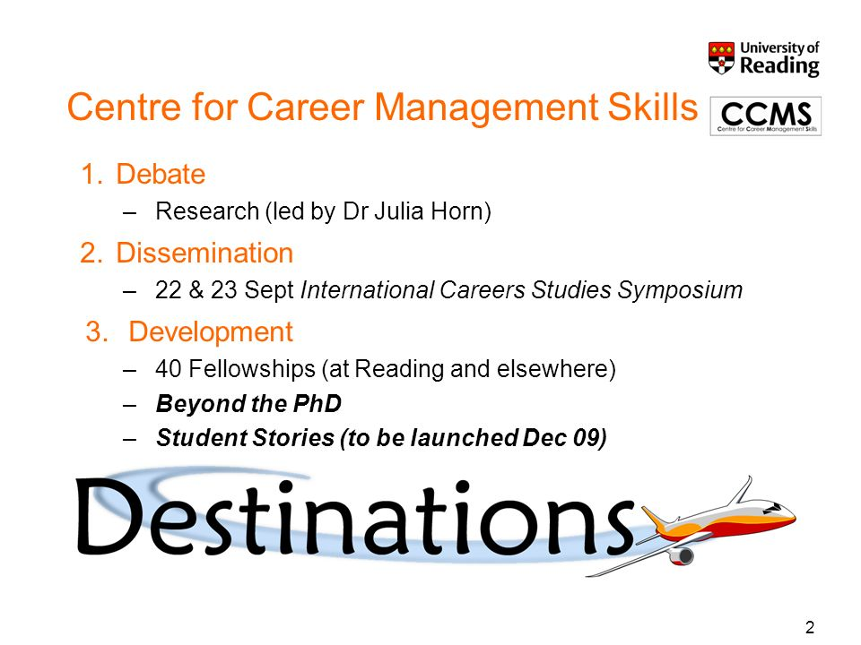 2 Centre for Career Management Skills 1.Debate –Research (led by Dr Julia Horn) 2.Dissemination –22 & 23 Sept International Careers Studies Symposium