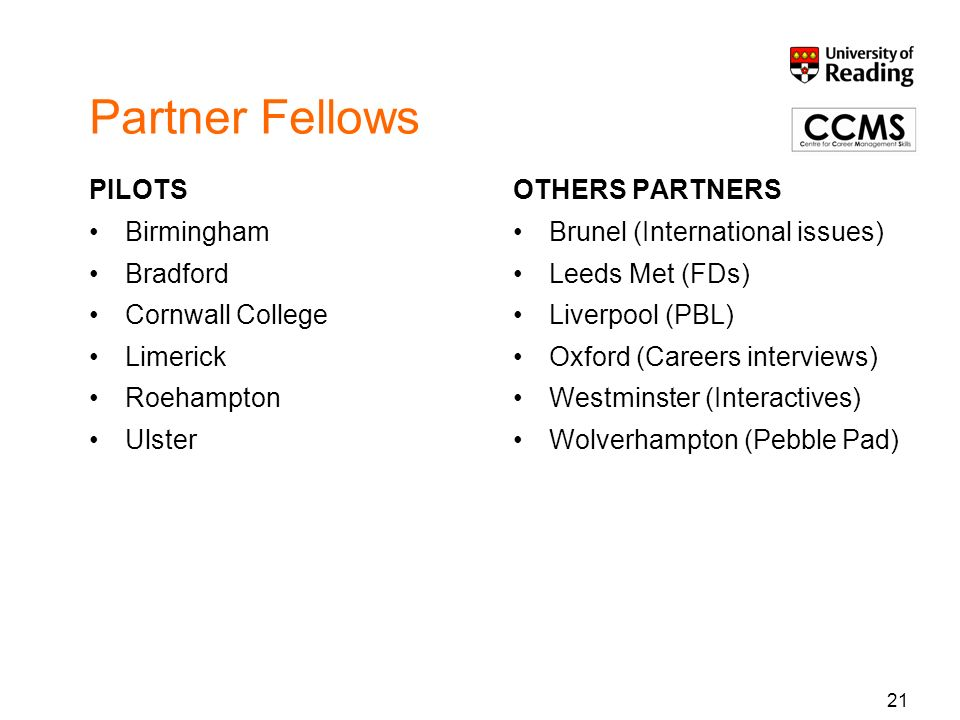 21 Partner Fellows PILOTS Birmingham Bradford Cornwall College Limerick Roehampton Ulster OTHERS PARTNERS Brunel (International issues) Leeds Met (FDs) Liverpool (PBL) Oxford (Careers interviews) Westminster (Interactives) Wolverhampton (Pebble Pad)