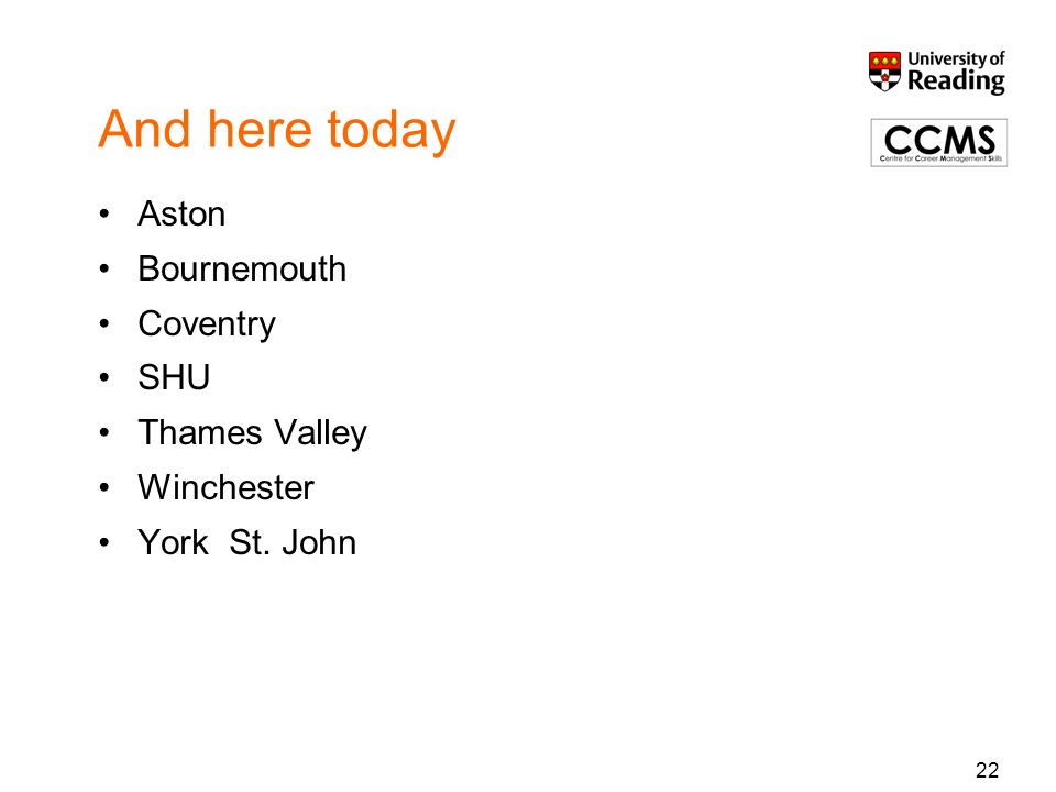 And here today Aston Bournemouth Coventry SHU Thames Valley Winchester York St. John 22