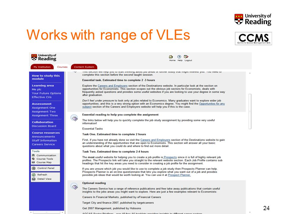 24 Works with range of VLEs