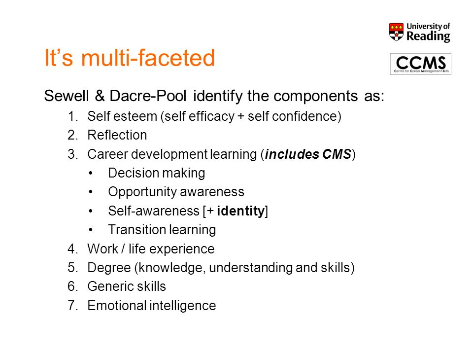Its multi-faceted Sewell & Dacre-Pool identify the components as: 1.Self esteem (self efficacy + self confidence) 2.Reflection 3.Career development le