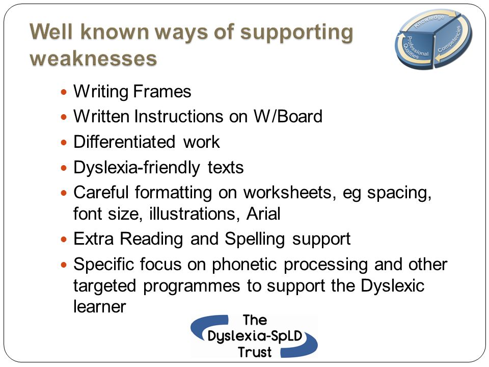 Writing Frames Written Instructions on W/Board Differentiated work Dyslexia-friendly texts Careful formatting on worksheets, eg spacing, font size, il
