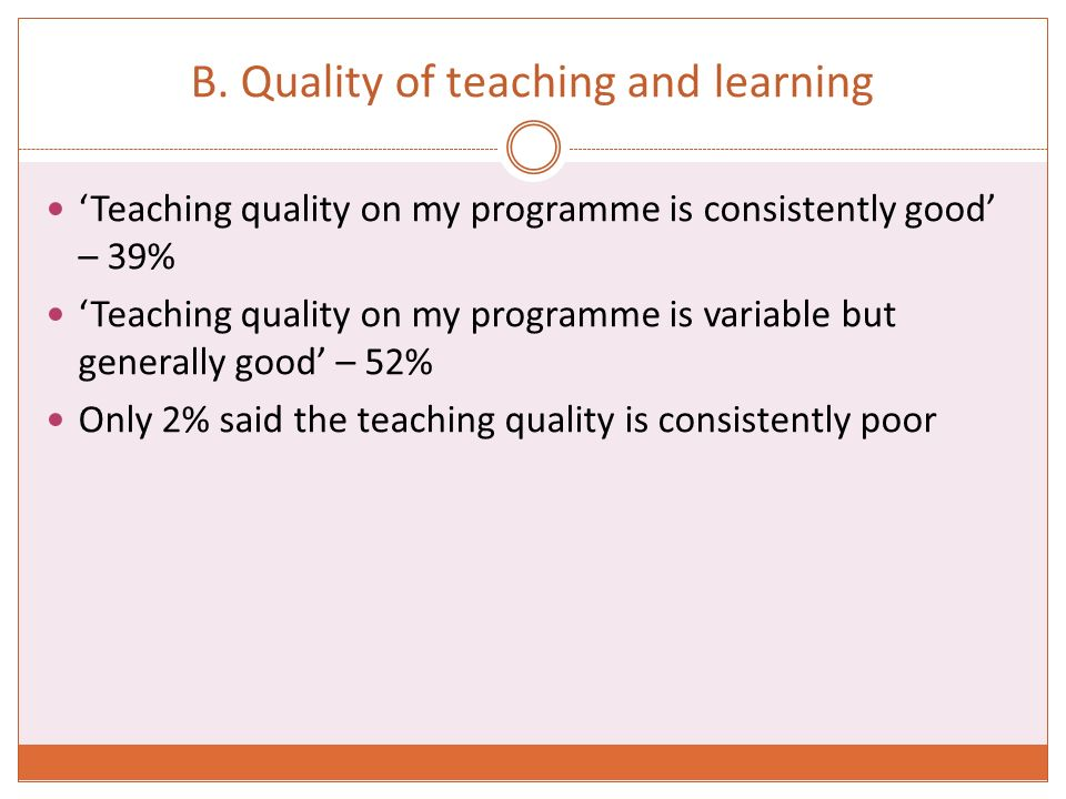 B. Quality of teaching and learning Teaching quality on my programme is consistently good – 39% Teaching quality on my programme is variable but gener