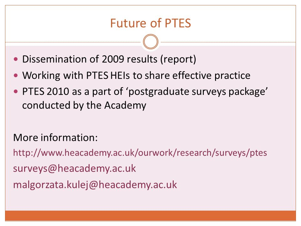 Future of PTES Dissemination of 2009 results (report) Working with PTES HEIs to share effective practice PTES 2010 as a part of postgraduate surveys package conducted by the Academy More information: http://www.heacademy.ac.uk/ourwork/research/surveys/ptes surveys@heacademy.ac.uk malgorzata.kulej@heacademy.ac.uk