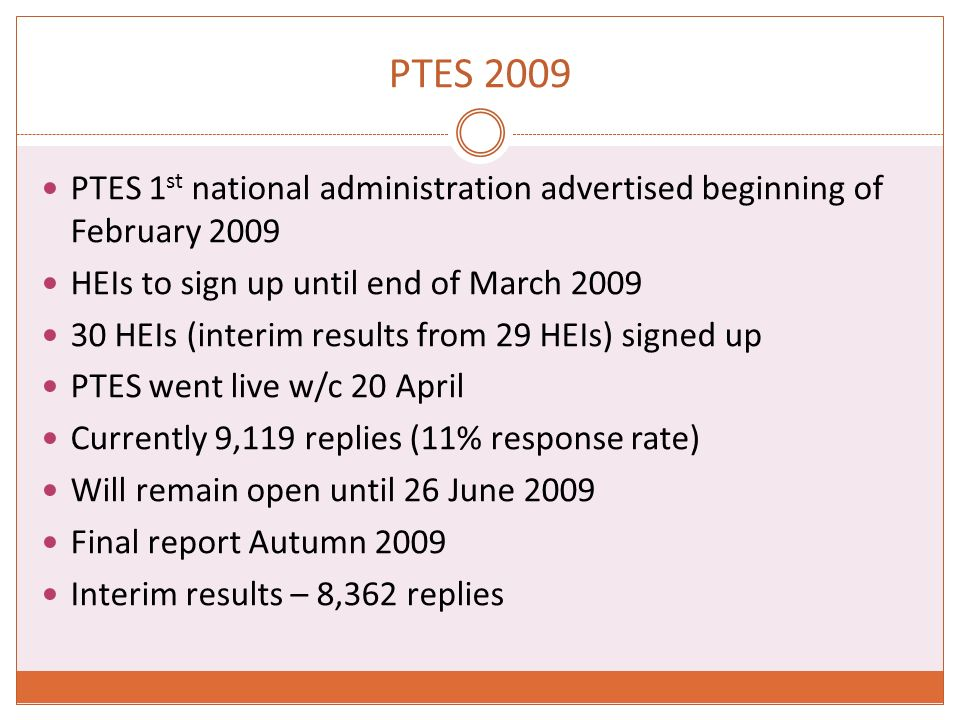 PTES 2009 PTES 1 st national administration advertised beginning of February 2009 HEIs to sign up until end of March HEIs (interim results from 29 HEIs) signed up PTES went live w/c 20 April Currently 9,119 replies (11% response rate) Will remain open until 26 June 2009 Final report Autumn 2009 Interim results – 8,362 replies
