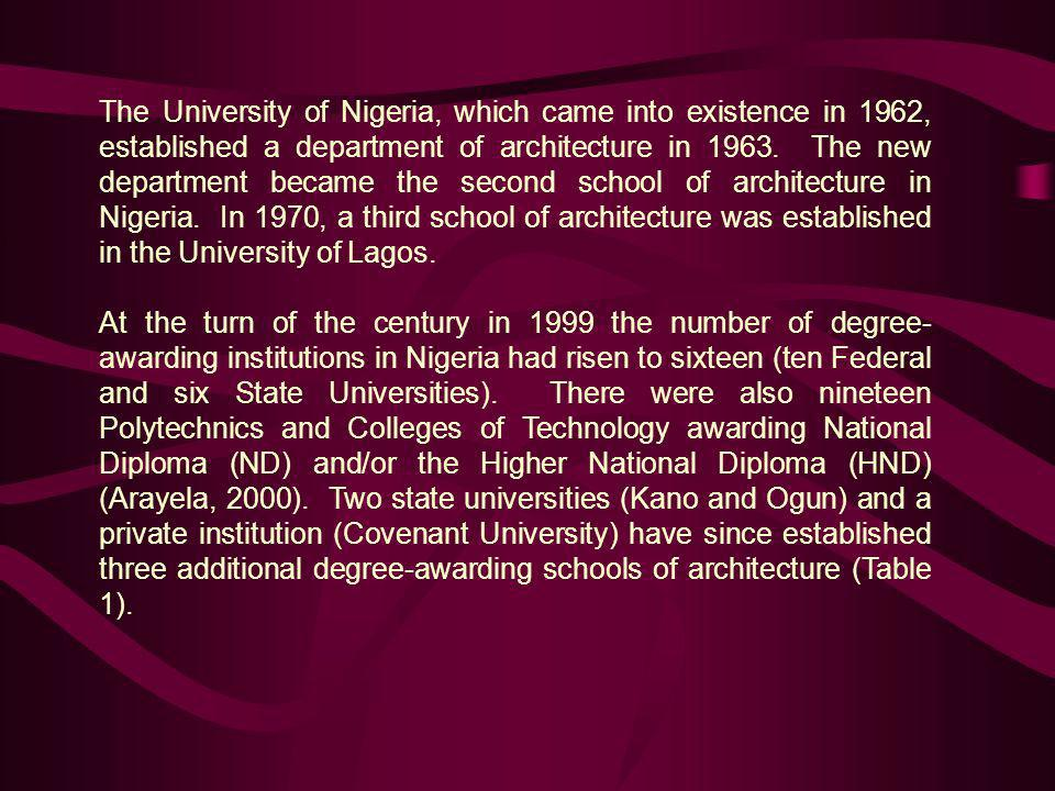 The University of Nigeria, which came into existence in 1962, established a department of architecture in 1963. The new department became the second s
