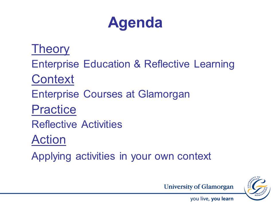 Agenda Theory Enterprise Education & Reflective Learning Context Enterprise Courses at Glamorgan Practice Reflective Activities Action Applying activi