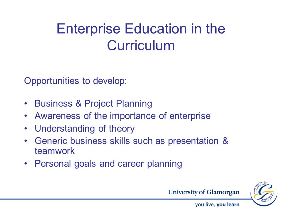 Opportunities to develop: Business & Project Planning Awareness of the importance of enterprise Understanding of theory Generic business skills such a