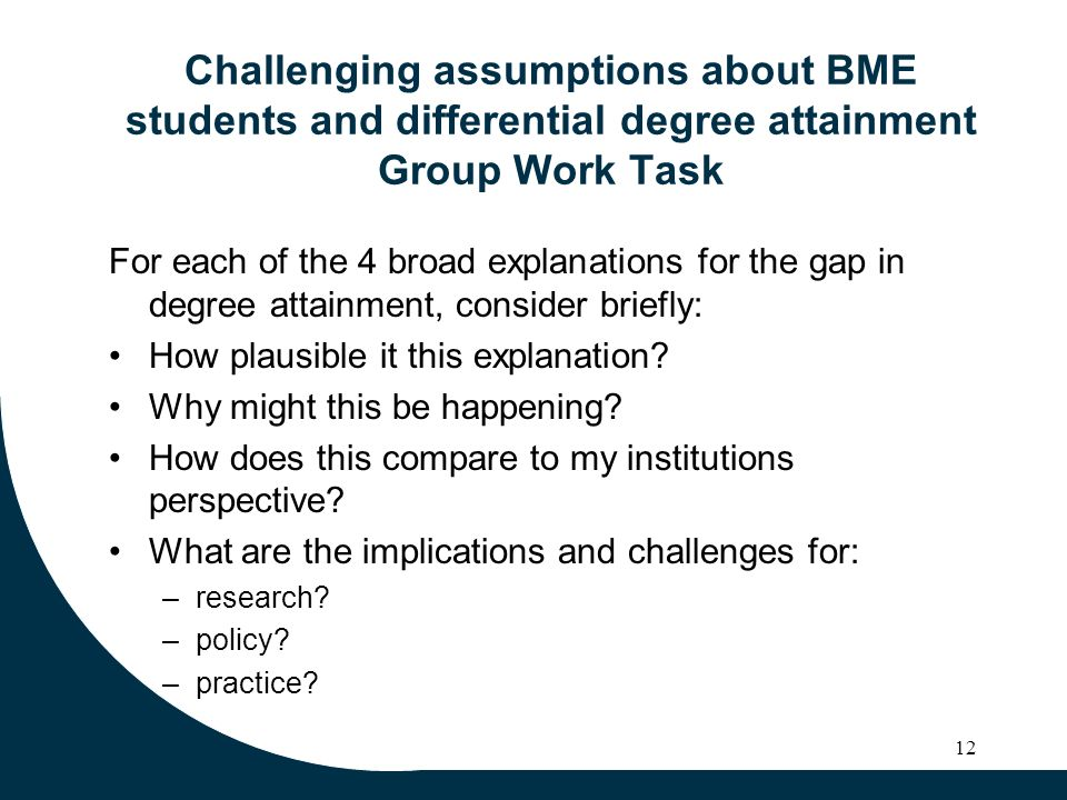 Challenging assumptions about BME students and differential degree attainment Group Work Task For each of the 4 broad explanations for the gap in degr