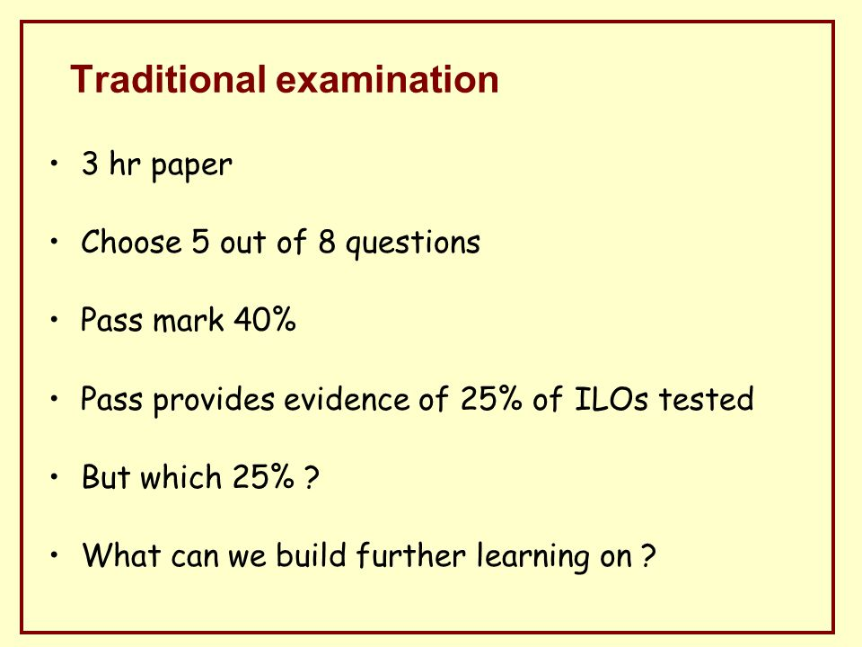 Traditional examination 3 hr paper Choose 5 out of 8 questions Pass mark 40% Pass provides evidence of 25% of ILOs tested But which 25% .